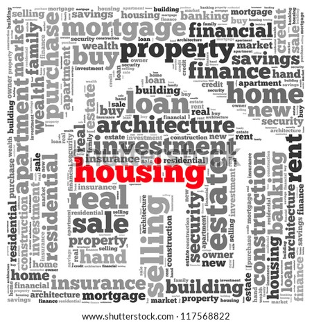 Housing info-text graphics and arrangement concept on white background (word cloud) - stock photo