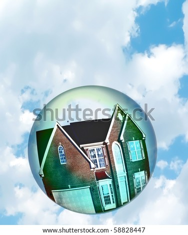 Housing market bubble concept photo with composition of home floating in a bubble depicting the fragility of the housing market. The house photo has been altered from its original appearance! - stock photo