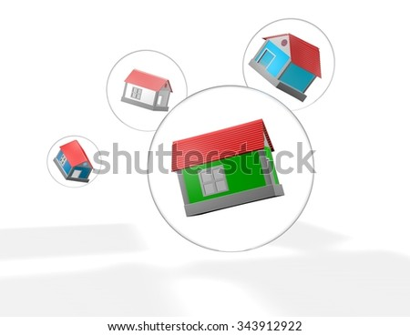Housing market bubble illustration with houses inside bubbles. - stock photo