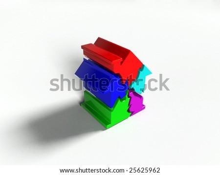 Housing market collapse (3d) - stock photo