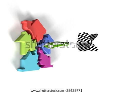 Housing market collapse (render) - stock photo