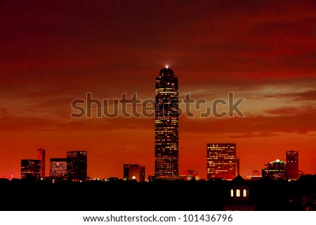 Houston after sunset - stock photo