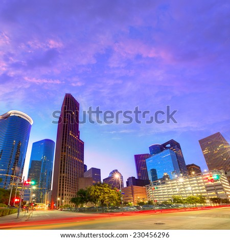 Houston Downtown skyline at sunset from south in Texas US USA - stock photo