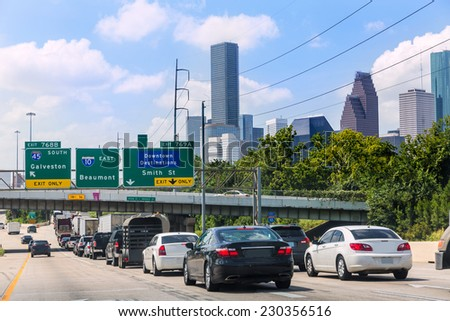 Houston Fwy traffic 10 Interstate in Texas USA US - stock photo