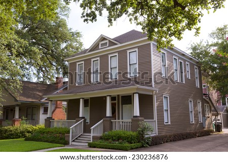 Houston Heights Blvd townhouses in Texas US USA - stock photo