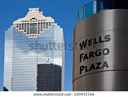 HOUSTON  - SEPTEMBER 19: Heritage Plaza skyscraper as can be seen from the Wells Fargo Plaza on September 19, 2011 in Houston, Texas, USA. - stock photo