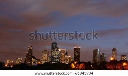Houston Skyline at Night Fall - stock photo