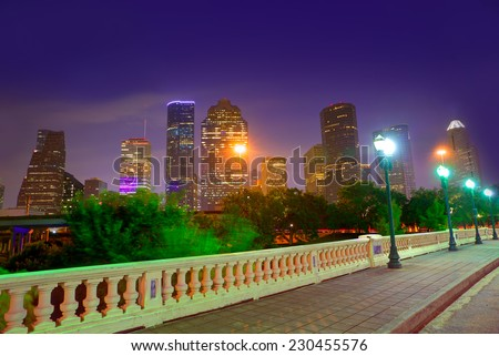 Houston skyline at sunset from Sabine St bridge Texas USA US America - stock photo