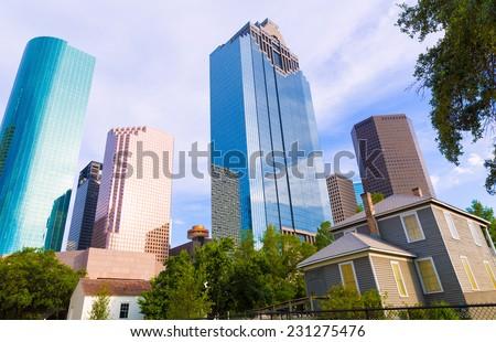 Houston skyline from Sam Houston Park at Texas US USA - stock photo