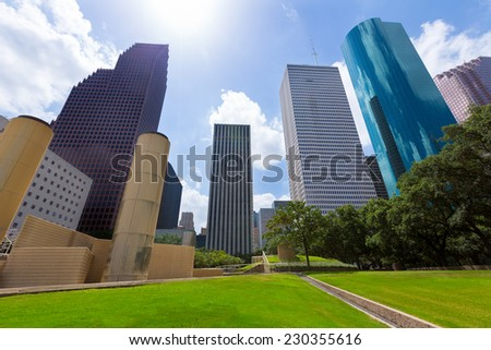 Houston skyline from Tranquility Park in Texas US USA - stock photo