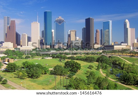 Houston skyline in the afternoon with Memorial Park in foreground in Texas - stock photo