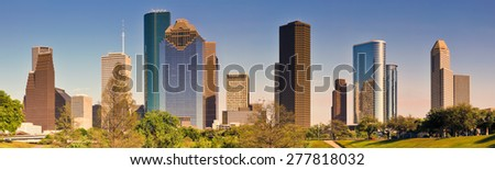 Houston Skyline, Panoramic - stock photo