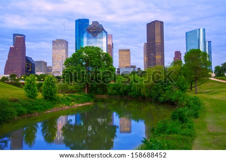 Houston Texas modern skyline from park river US - stock photo