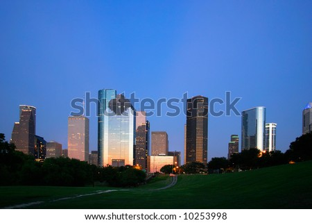 Houston, Texas Skyline at Dusk - stock photo