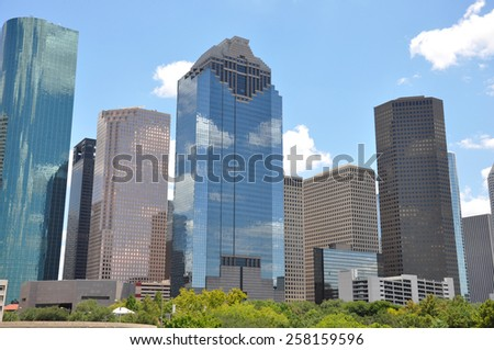 Houston Texas skyline with a bright blue sky - stock photo