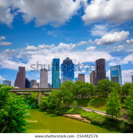 Houston Texas Skyline with modern skyscrapers and blue sky view from park river US - stock photo