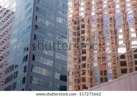 Houston Texas urban city with modern mirror skyscrapers crop detail - stock photo