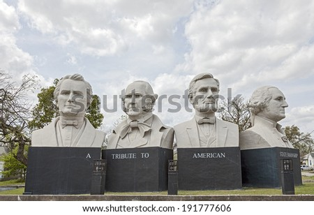 HOUSTON, TX - MARCH 21, 2013: American Statesmanship Park in Houston, Texas. Sculptures created with, Stephen F. Austin, Sam Houston, Abraham Lincoln and George Washington by Artist David Adickes. - stock photo