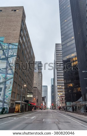 Houston, TX/USA - circa October 2015: Streets and Skyscrapers of Downtown Houston, Texas - stock photo