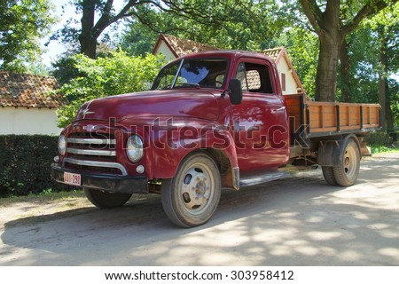 Houthalen, Belgium - August 5, 2015: 1950s Opel Blitz 1.75T  Truck parking on the side of the road