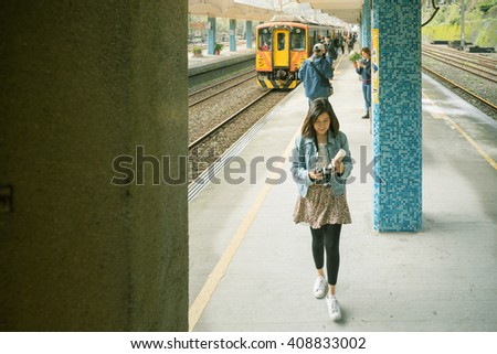 HOUTONG, TAIWAN - February 28, 2016 : Passenger arrived at Houtong Station, Ruifang District, New Taipei, Taiwan.
