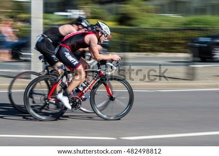 HOVE, EAST SUSSEX, UK - SEPTEMBER 11 2016: The inaugural Brighton & Hove Triathlon took place on Sunday 11 September 2016 with competitors taking on a swim, cycle ride and run on Hove seafront.