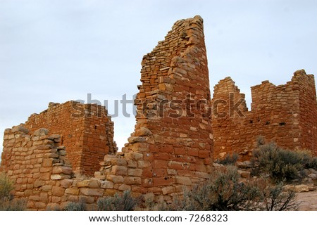 Hovenweep Castle, a distinctive ruin in Hovenweep National Monument - stock photo