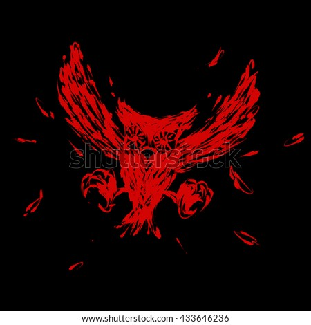 Hovering hunt owl claw illustration brush style red color isolated on black background