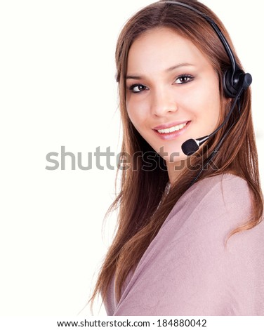 how I can help you? young woman on the white background - stock photo