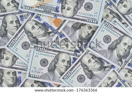 How many Benjamin Franklins out there, newest hundred dollar American  Banknotes looking at you - stock photo