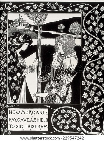 "How Morgan le Fay gives a shield to Tristan, Engraving of ""The Death of Arthur"" by Sir Thomas Malory, edition illustrated by Aubrey Beardsley (1892-1894)"