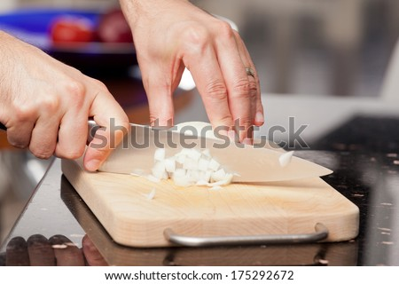 How to chop onions - stock photo