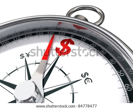 how to find dollar conceptual image with compass and red dollar a metaphor about the way to money - stock photo