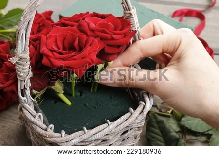 Woman Keep Rose Cryingvintage Filtered Stock Photo
