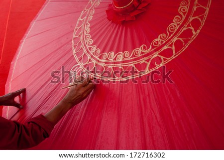 How to make the process umbrella made of paper / fabric. Arts and crafts of the village Bo Sang, Chiang Mai Thailand. - stock photo