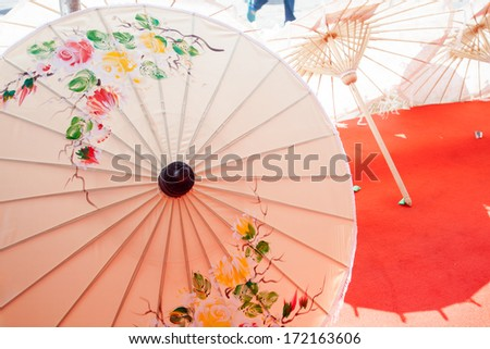 How to make the process umbrella made  paper / fabric. Arts and crafts of the village Bo Sang, Chiang Mai Thailand. - stock photo