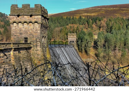 Howden Dam Wall. A blend of 5 exposures merged in HDR software to capture the detail and sharpness of the construction. Note the blurred foreground giving the wall a sense of depth and size - stock photo