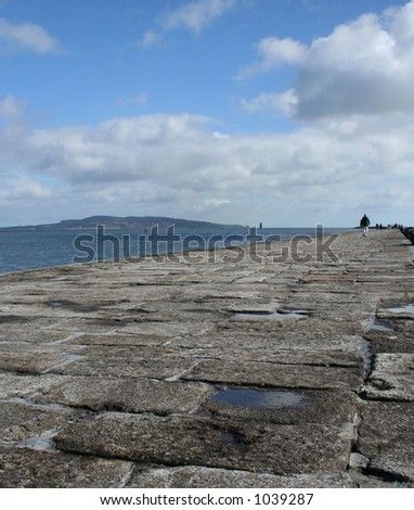 Howth Head view from Pier - stock photo