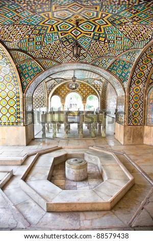 Howz Khaneh,Mosaic wall and marble fountain of Golestan palace, Tehran, Iran - stock photo