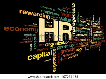 HR - human resources concept in tag cloud on black background - stock photo