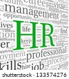 HR - human resources concept in tag cloud on white background - stock