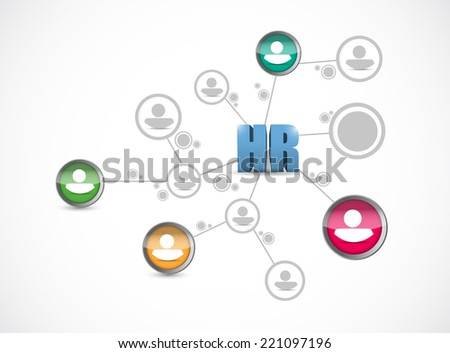 hr people network connection illustration design over a white background - stock photo