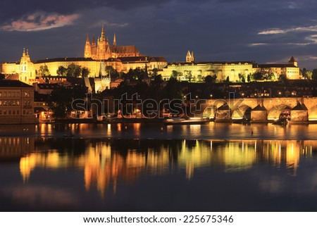 Hradcany Castle and Charles Bridge, Prague, Czech Republic - stock photo