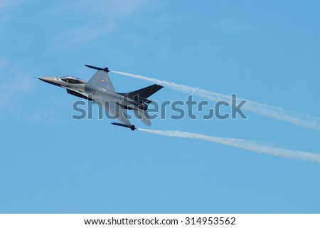 HRADEC KRALOVE, CZECH REPUBLIC - SEPT 5: Czech International Air Fest Air Show at airfield in Hradec Kralove, Czech Republic on September 5, 2015