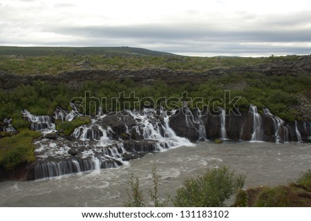 Hraunfossar waterfall,Iceland - stock photo