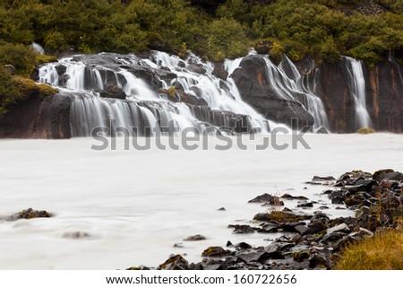 Hraunfossar waterfall, Iceland - stock photo