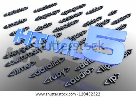HTML and around - stock photo