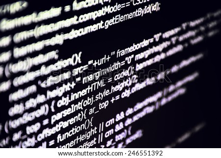 Html code on the monitor screen. The texture. - stock photo