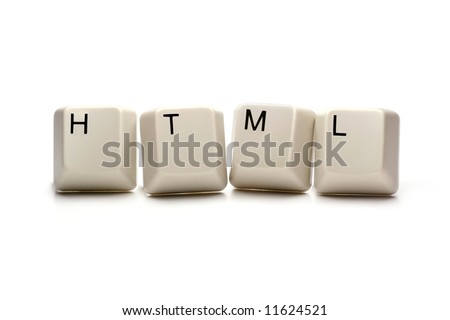 HTML - Hypertext Markup Language written with computer keys, isolated on white