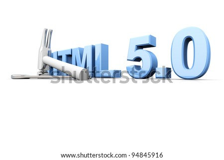HTML 5.0 tools. 3D rendered Illustration. Isolated on white. - stock photo